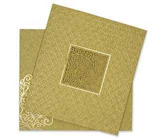 Indian wedding card in green embossed motifs and laser cut design
