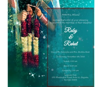 Vermala style blue wedding ecard -