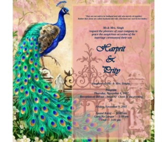 Peacock design wedding e card for Sikh wedding -