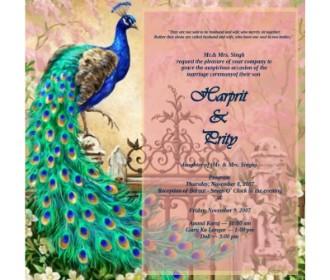 Peacock design wedding e card for Sikh wedding -