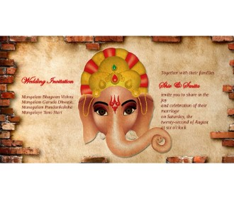 Ganesh Design wedding ecards in golden color -