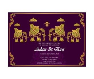 Purple color elephent design wedding e cards