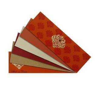 Deep Orange and Golden Wedding Card