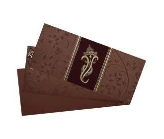 Firebrick ganesha design hindu wedding card