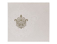 Designer cream and golden wedding invitation
