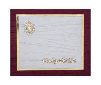 Indian wedding card in Beige with Purple and white Satin