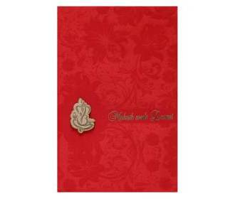 Indian wedding card in Ivory and red velvet with floral designs