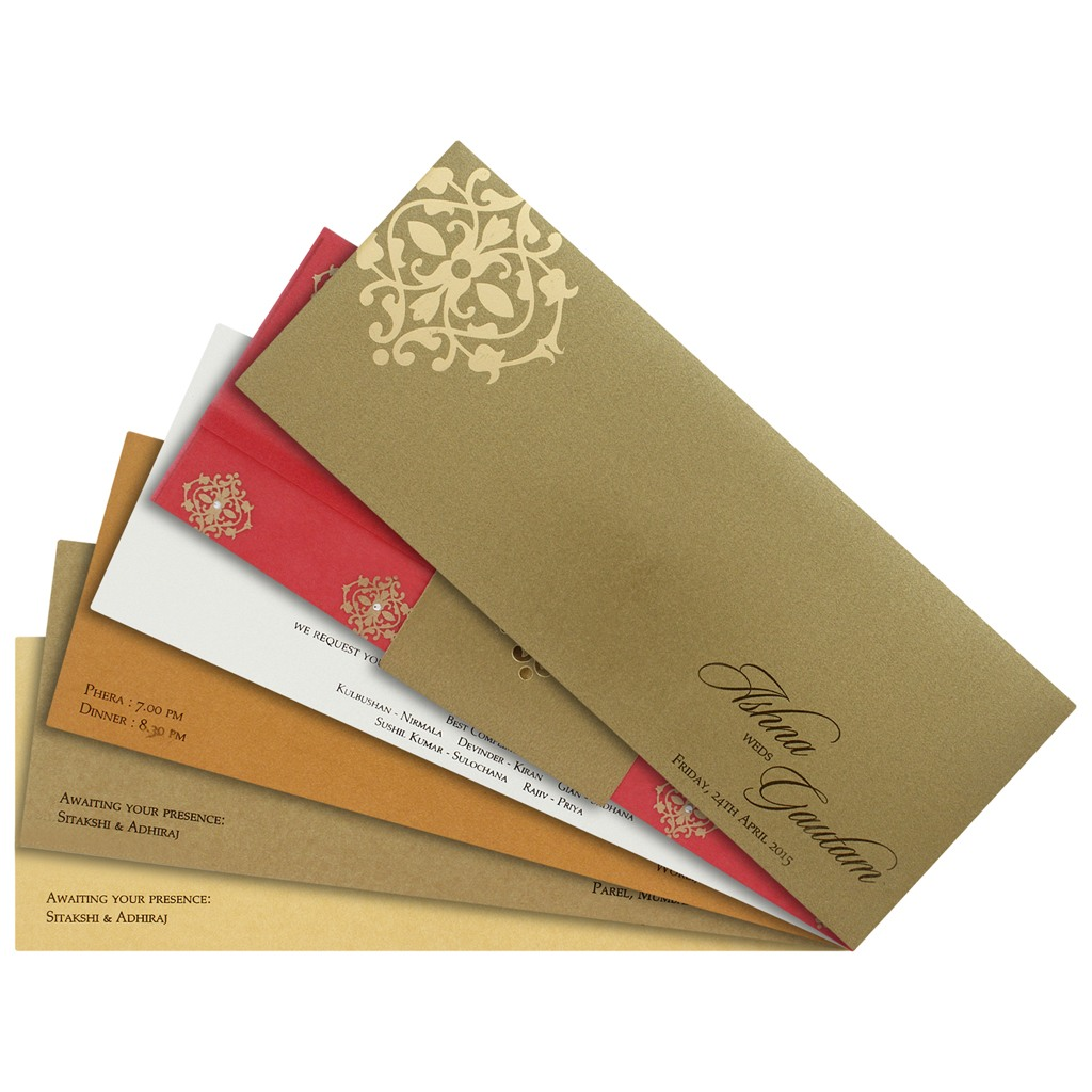 Dark Peach and golden invite with multicolor inserts