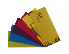 Shimmering Golden wedding card with multicolor inserts