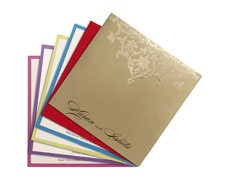 Satin wedding card in red and antique golden with Ganesha design