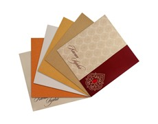 Maroon and shimmering golden wedding card