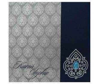 Indian wedding invite in Navy blue and silver grey