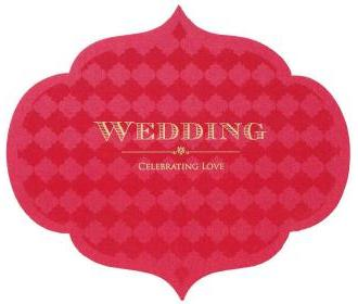 Designer wedding card with multicolor cut out design.