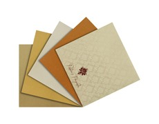 Red & Golden wedding card with multicolor inserts