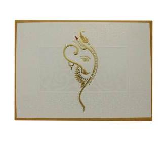 Designer Hindu wedding card with decorated Ganesha