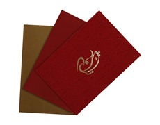 Hindu Wedding card in red satin with Ganesha Symbol