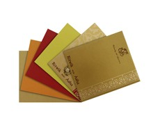 Ganesha wedding card in Yellow Golden and Red