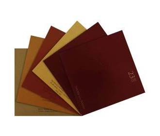 Indian wedding card in Maroon with Ganesha symbol