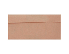 Handmade paper invite in peach with band style