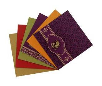 Hindi wedding card in purple with multicolor inserts