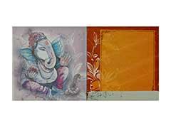 Hindu Wedding Card in Limegreen Colour with Radha Krishna images