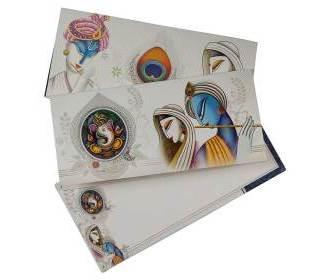 Multicolour Radha-Krishna Card with Ganesha design