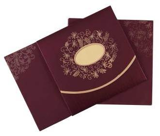 Indian Wedding Invitation in Purple with Golden Flowers