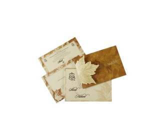 Indian Wedding Card in Fawn with Leaf Design