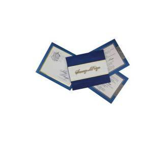 Satin Wedding Card in Blue with Laser Cut-out Initials