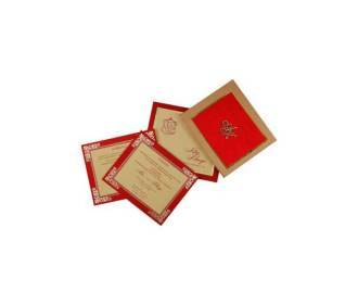 Satin Wedding Card In Red and Golden with Lazer Cut Initials
