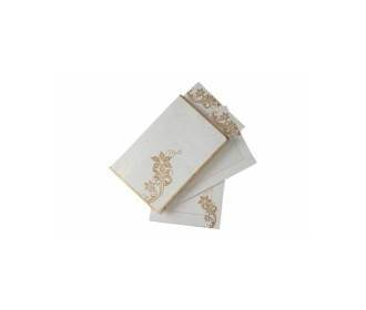 Elegant Indian Wedding Invite with Golden Flowers