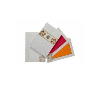 Multicolor Hindu Wedding Card with Laser Cut-out Design