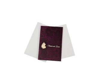 Hindu wedding card in Purple Satin with Ganesha symbol
