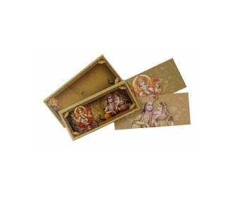 Hindu Wedding Card with Multiple God Images