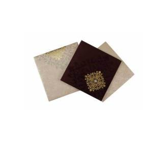 Satin Wedding Card in Brown with Decorated Golden Motif