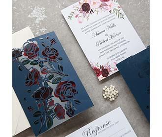 Asymmetric Rose Design Laser Cut Wedding Invitation in Navy Blue