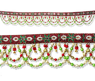 Bandhanwar with Green Red and Golden beads -