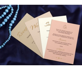 Beautiful beige colored wedding invite