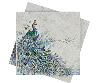 Beautiful blue peacock themed wedding invitation card