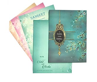 Beautiful floral wedding invitatioon in teal blue colour