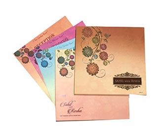 Beautiful flower wedding invitation in spring colours -