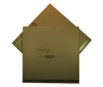 Beautiful Golden Multi Faith Wedding invitation with a folding insert