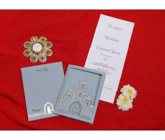 Beautiful Grey colored Fairyland wedding invite