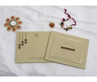 Beautiful hangings with Ganesha Hindu Wedding invite -