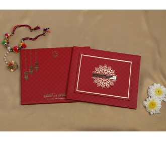 Beautiful hangings with Ganesha Red wedding invite -