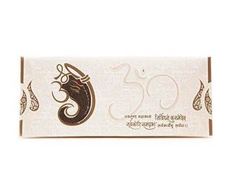 Beautiful Hindu Wedding Card with Ganesha Cut out & Shlokas