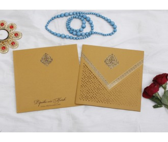 Beautiful Multifaith Brown colored wedding invite -