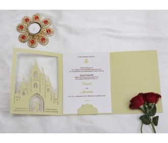 Beautiful Pista colored Fairyland wedding Invite