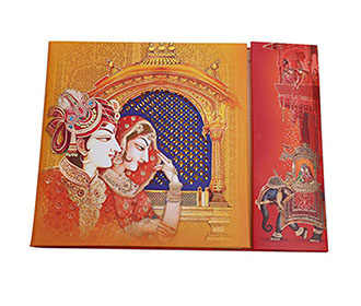 Beautiful Royal Indian wedding card in orange & yellow