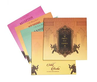 Beautiful Royal Indian wedding invite in fresh colours -